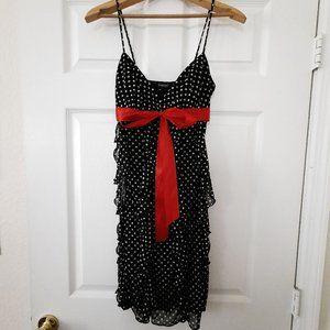 Flirty Flounce-Front Polka Dot Dress w Ribbon Trim